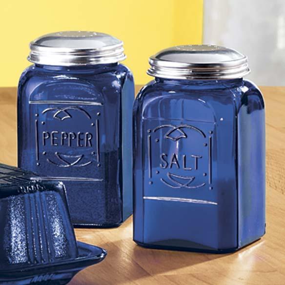 Cobalt blue depression style glass salt pepper shakers depression style glassware kitchen - Salt and pepper shaker display case ...