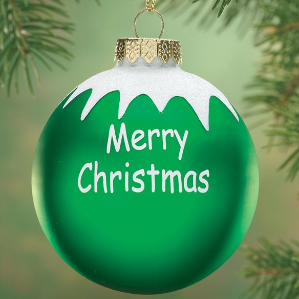 Personalized merry christmas glass ball ornament for Outdoor merry christmas ornaments