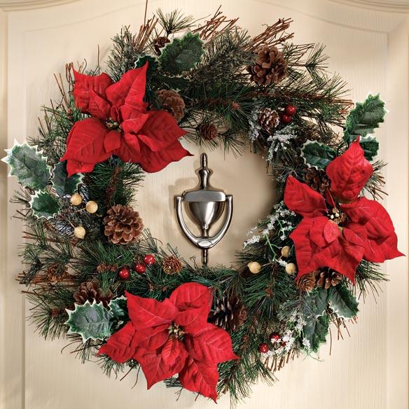 Poinsettia wreath outdoor decor christmas mileskimball for 5ft poinsettia garland christmas decoration