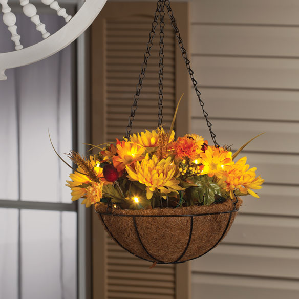 Hanging Flower Baskets With Lights : Quot lighted mum hanging basket flower miles kimball