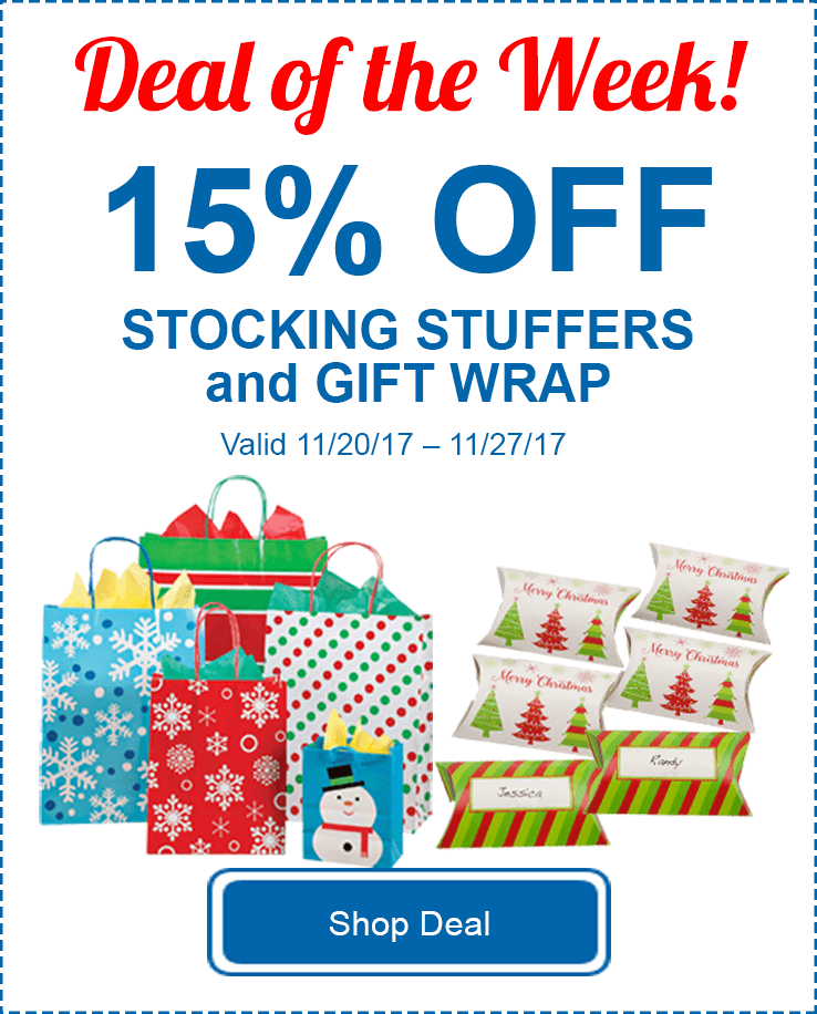 15% Off Stocking Stuffers and Gift Wrap