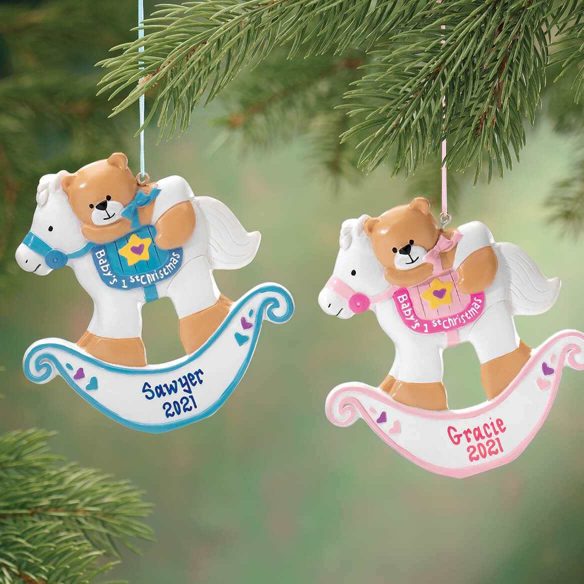 Personalized Baby's First Christmas Rocking Horse Ornament
