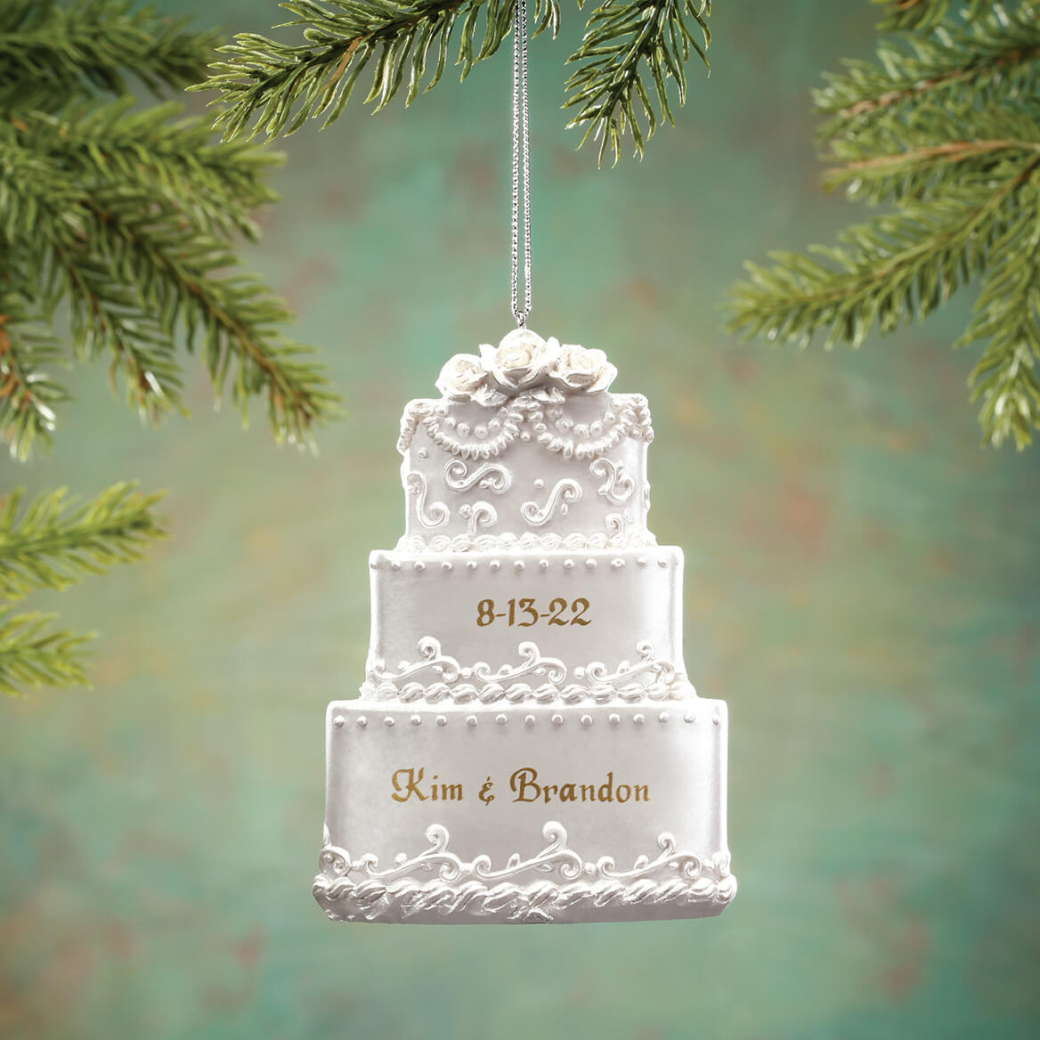Personalized Wedding Cake Ornament  Christmas  Miles Kimball