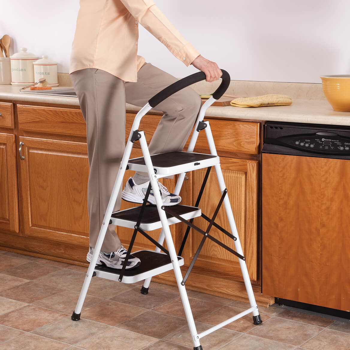 step ladder stool step stool chair step stool ladder miles kimball. Black Bedroom Furniture Sets. Home Design Ideas