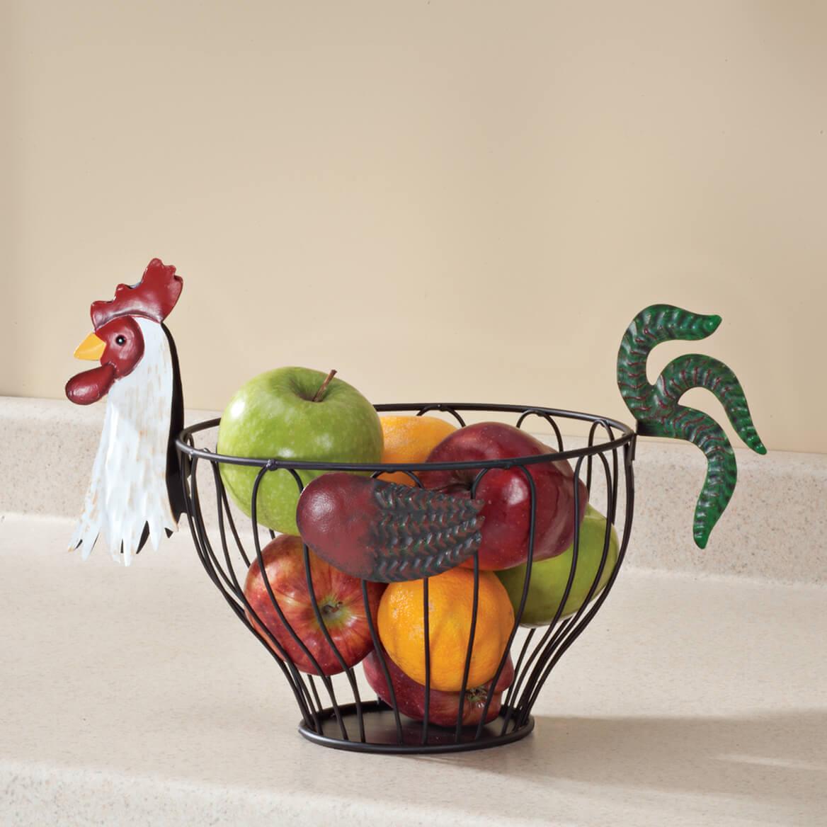 Design Fruit Storage Basket rooster fruit basket wire miles kimball 353093