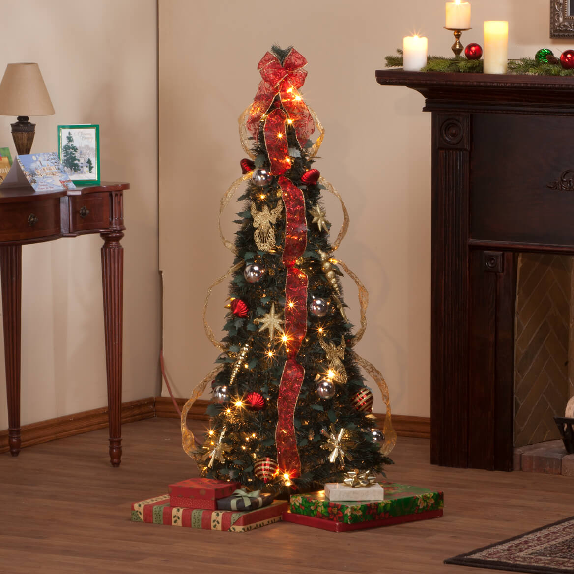 Pull up christmas tree reviews - 4 Foot Fully Decorated Red Gold Pull Up Tree