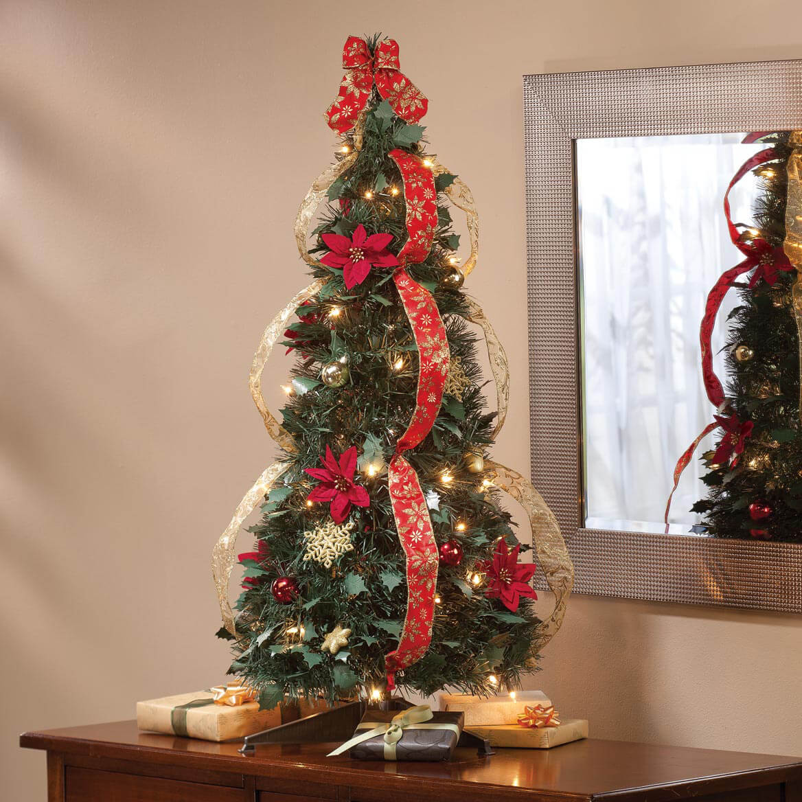 Pull up christmas tree reviews - 3 Ft Pull Up Fully Decorated Pre Lit Poinsettia Tree