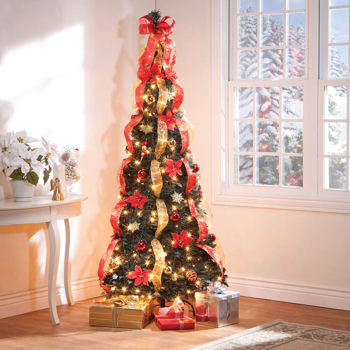 Pull up christmas tree reviews - 7 Ft Pull Up Fully Decorated Pre Lit Poinsettia Tree
