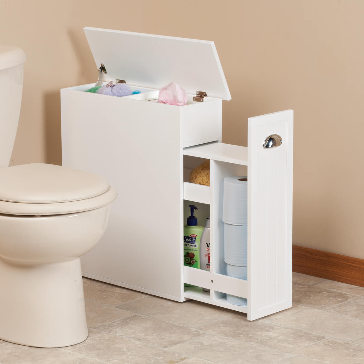 Slim bathroom storage cabinet by oakridge slim cabinet miles kimball for Small storage cabinets for bathroom