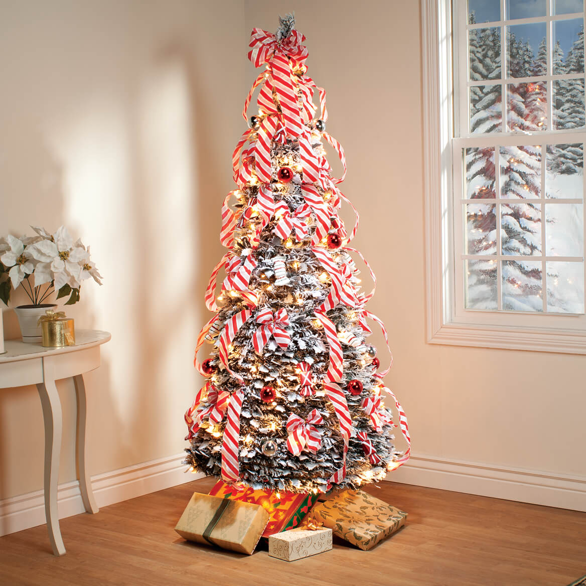 Pull up christmas tree reviews - 6 Ft Candy Cane Frosted Pull Up Tree By Northwoods Greenery