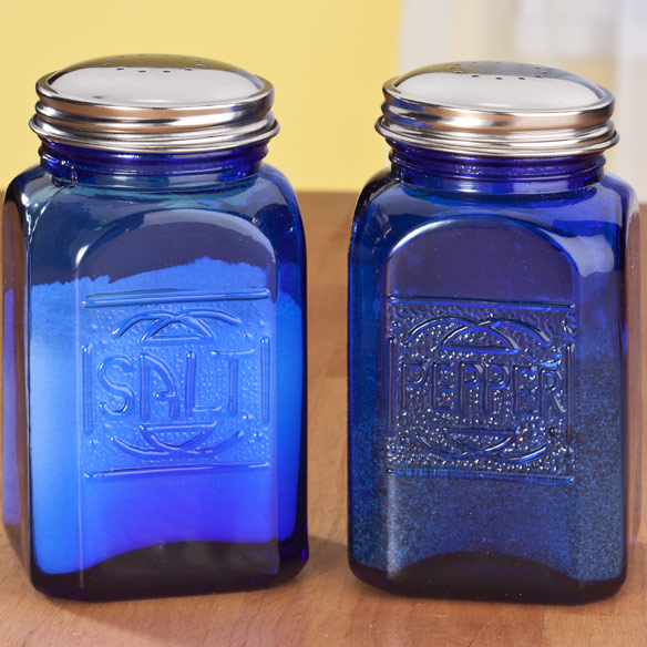 Cobalt Blue Depression Style Glass Salt & Pepper Shakers - View 2