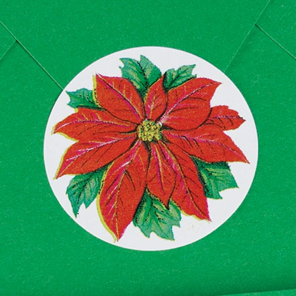 Poinsettia Envelope Seals - Roll of 200 - View 2