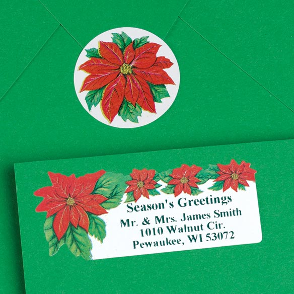 Poinsettia Labels And Seals - Sets of 250 - View 2