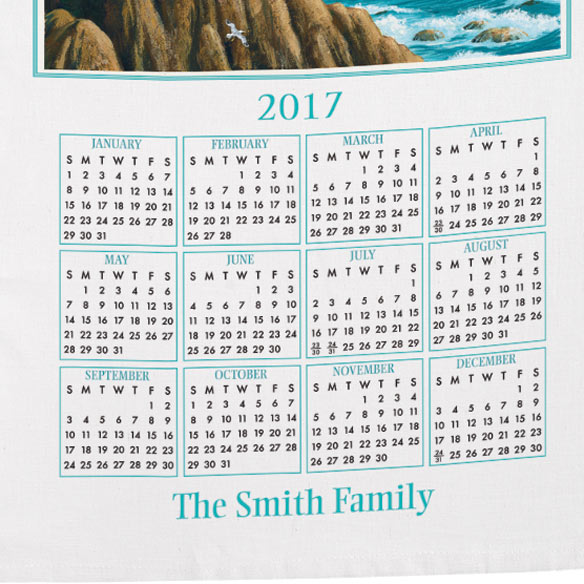 Personalized Lighthouse Calendar Towel - View 3
