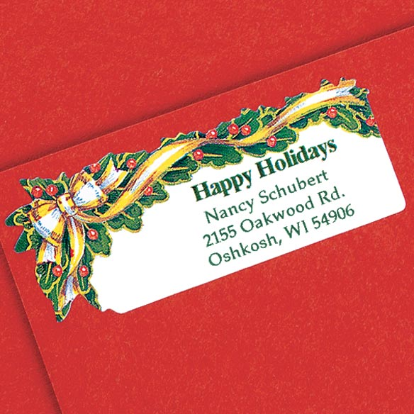 Holly And Ribbon Return Address Labels - Set of 200 - View 2