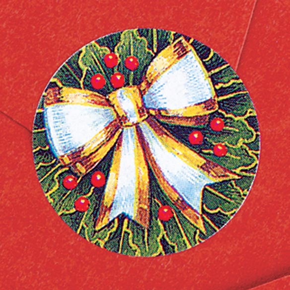 Holly And Ribbon Envelope Seals - Set of 200 - View 2