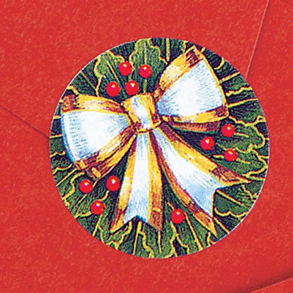 Holly And Ribbon Labels And Seals Set - View 2