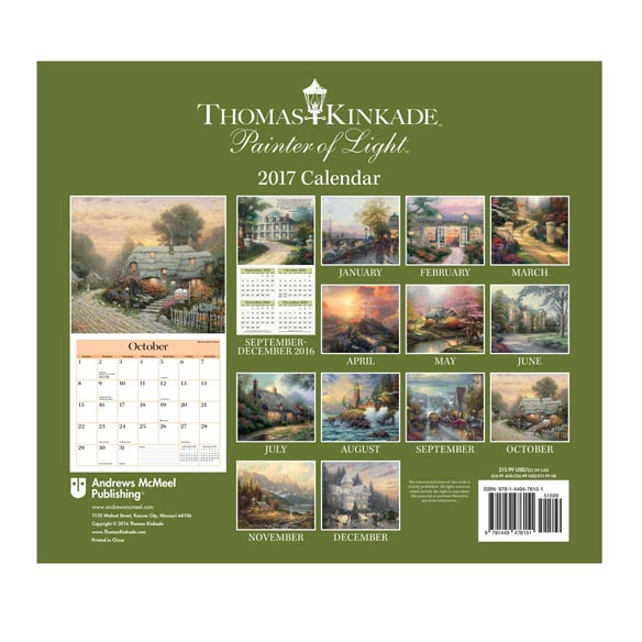 Thomas Kinkade Wall Calendar - View 2
