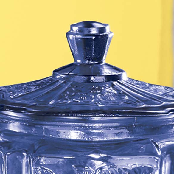 Cobalt Blue Depression Style Glass Biscuit Jar - View 2