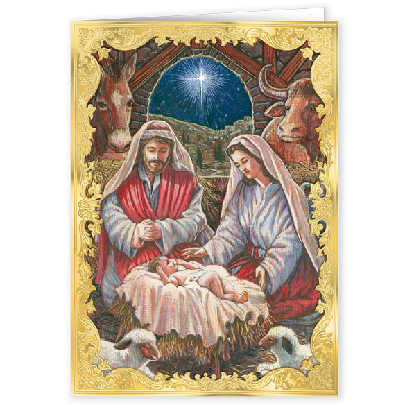 Holy Family Personalized Embossed Christmas Cards - Set Of 20 - View 2