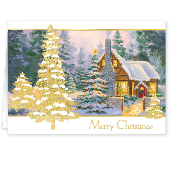Glowing Cottage Personalized Christmas Cards - Set Of 20 - View 2