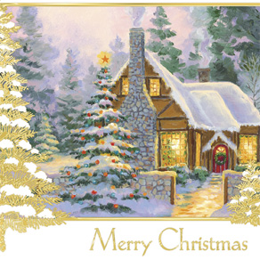 Glowing Cottage Personalized Christmas Cards - Set Of 20 - View 4
