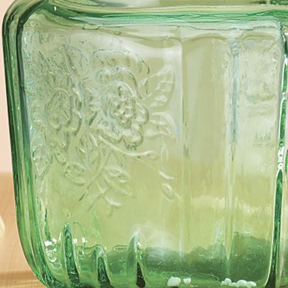 Green Depression Style Glass Biscuit Jar - View 3