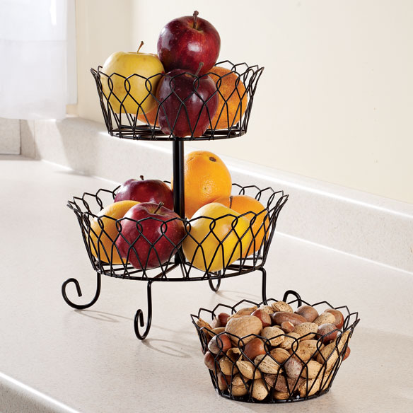 Black Tiered Fruit Basket - View 2