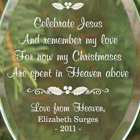 Personalized Christmas In Heaven Glass Ornament - View 2