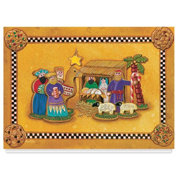 Gingerbread Nativity Christmas Card Set of 20 - View 2
