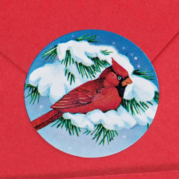 Snowy Cardinal Seals - Roll of 200 - View 2