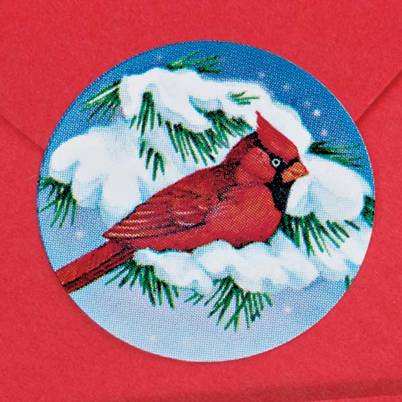 Snowy Cardinal Labels and Seals Set - View 2