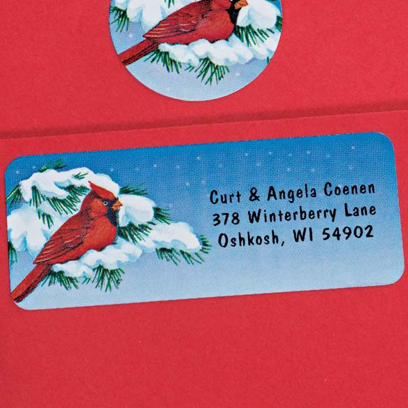 Snowy Cardinal Labels and Seals Set - View 3