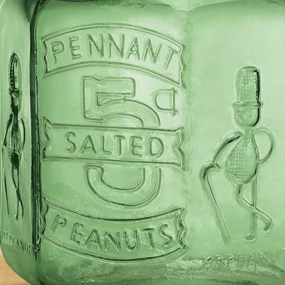 Green Depression Style Glass Large Peanut Jar - View 2