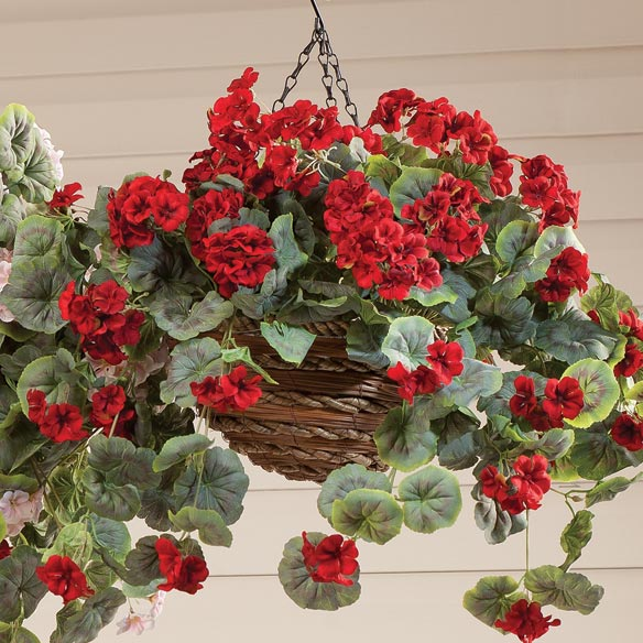 Artificial Geranium Hanging Bush - View 2