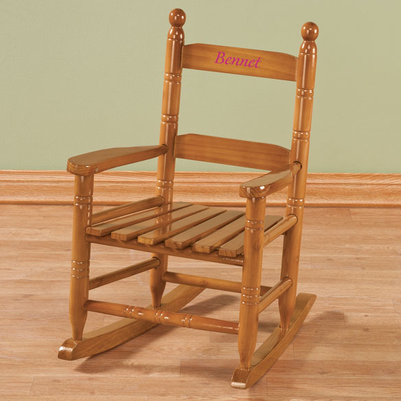 Personalized Child's Natural Rocker - View 2