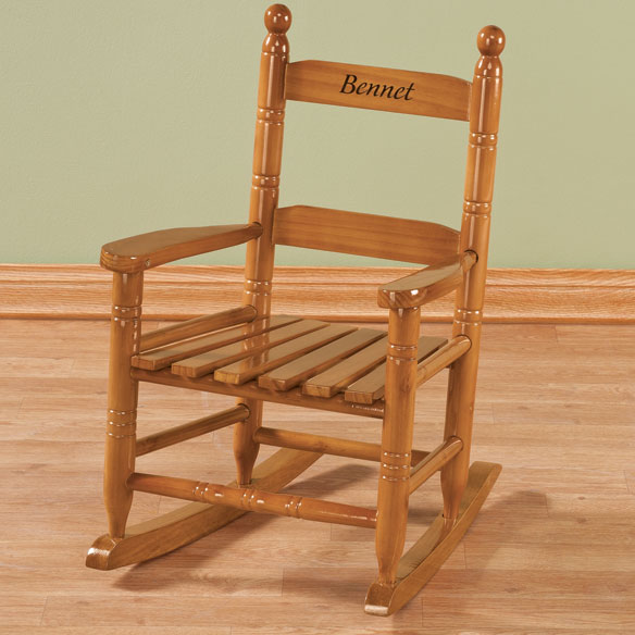 Personalized Child's Natural Rocker - View 4