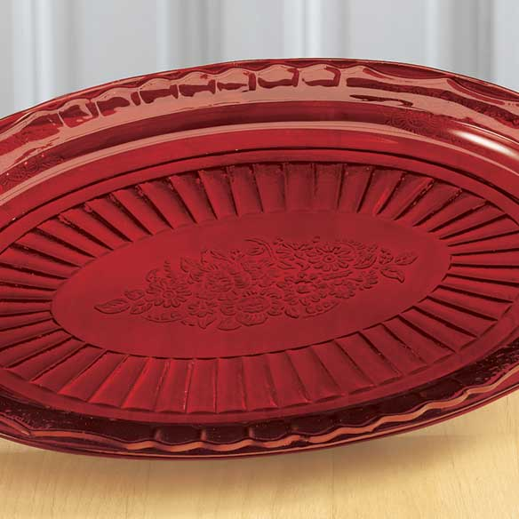 Red Depression Style Glass Serving Platter - View 2
