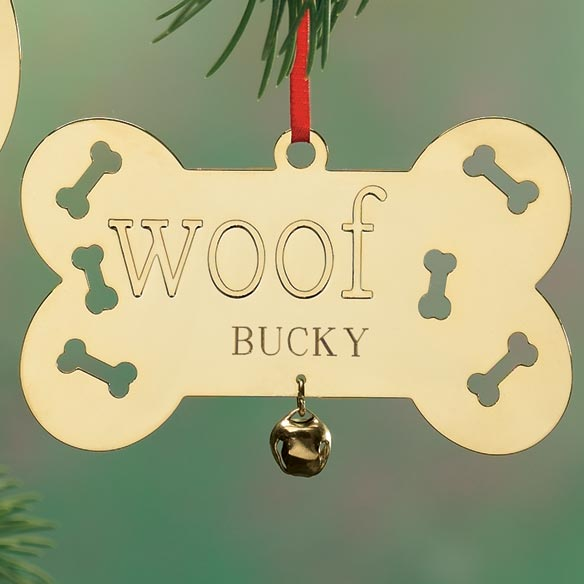 Personalized Woof Brass Ornament - View 3