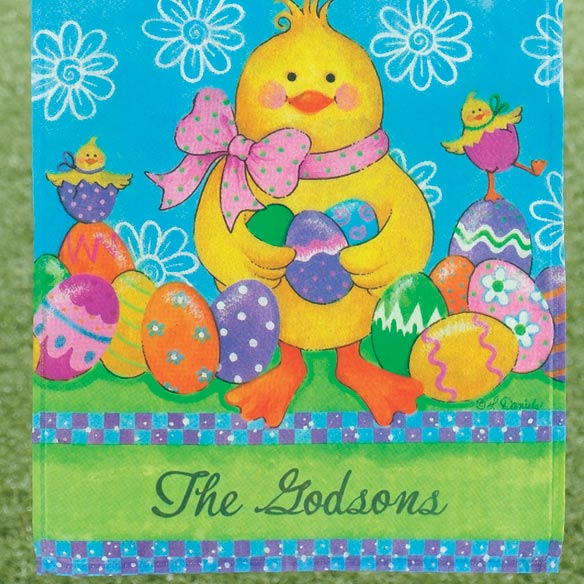 Personalized Easter Chick Garden Flag - View 3