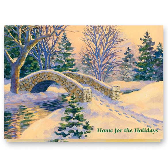 Snowy Footbridge Non-Personalized Card Set of 20 - View 2