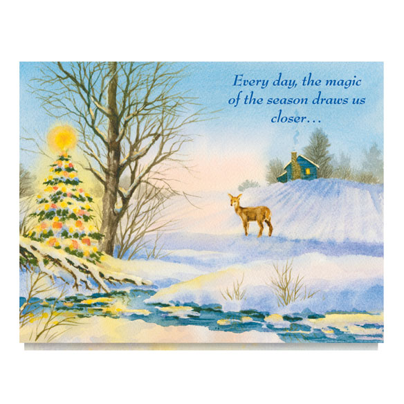 Deer and Decorated Tree Card Set of 20 - View 2