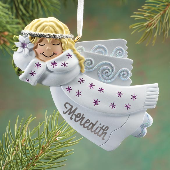 Personalized Birthstone Angel Ornament - View 5