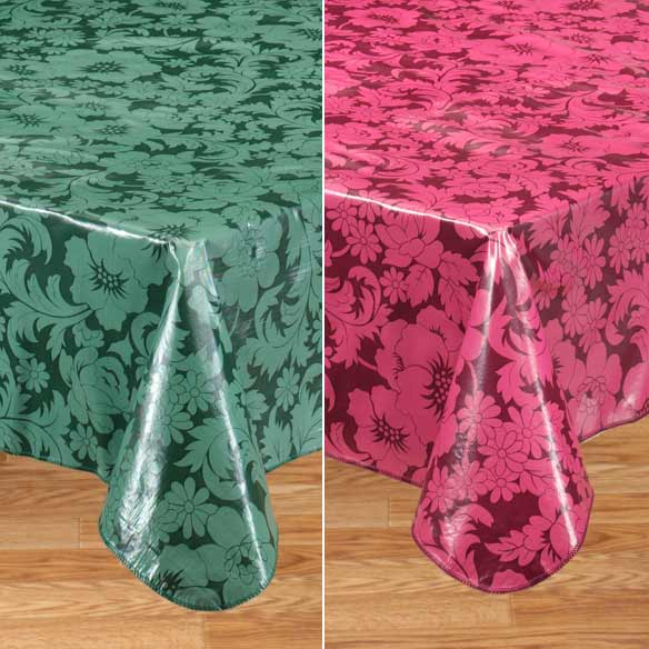 Bordeaux Floral Vinyl Table Cover - View 5