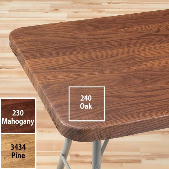 Wood Grain Elasticized Table Cover - View 2