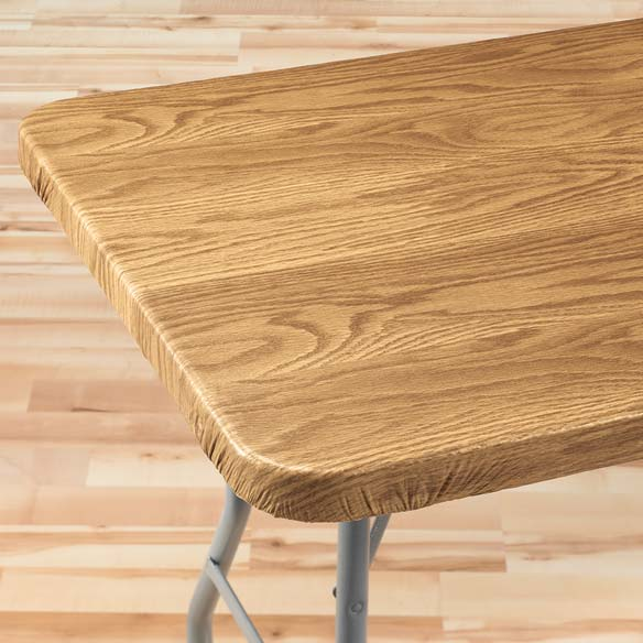 Wood Grain Elasticized Table Cover - View 3