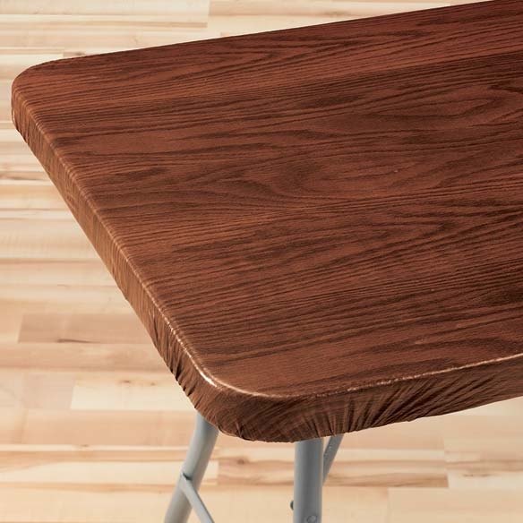 Wood Grain Elasticized Table Cover - View 4