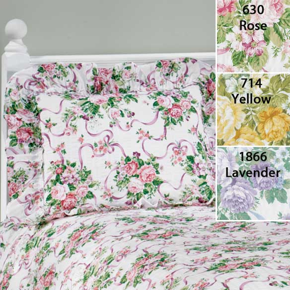 Ribbons & Roses Floral Plisse Pillow Shams - View 2