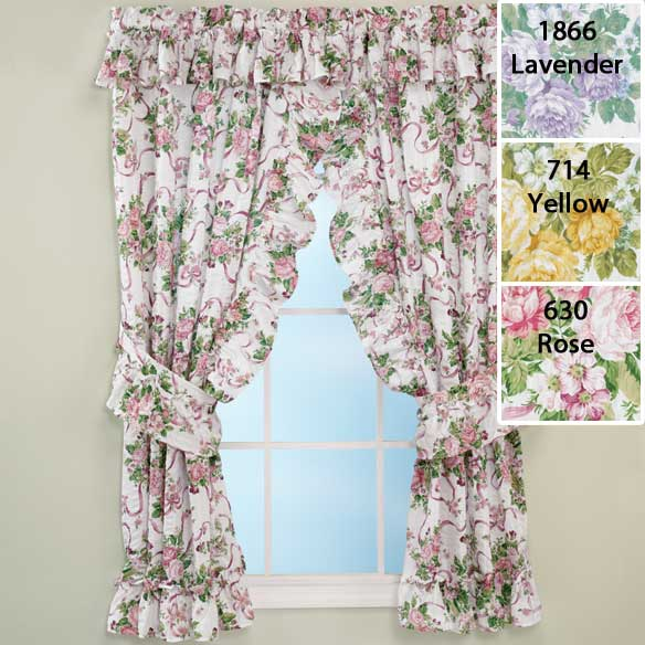 Ribbons & Roses Floral Plisse Curtains - View 2