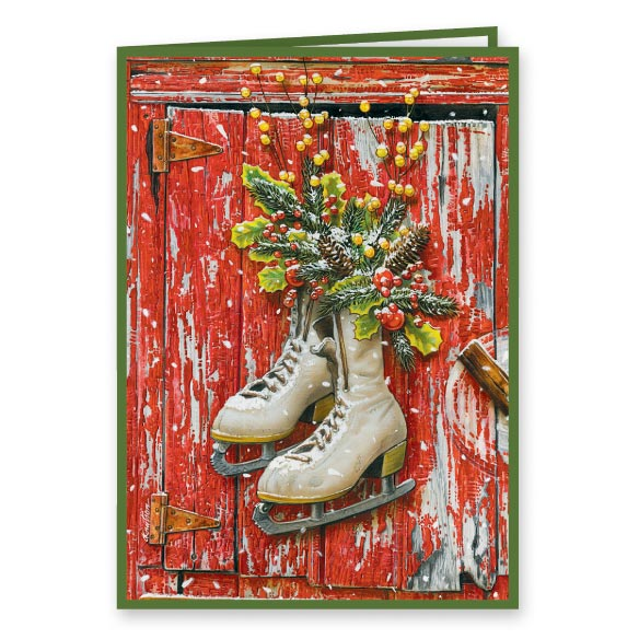 Vintage Skates Christmas Card Set of 20 - View 2